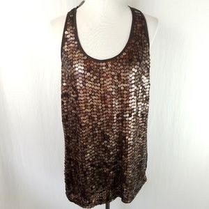 Michael Kors Top Sequin Large Brown Tank NWT